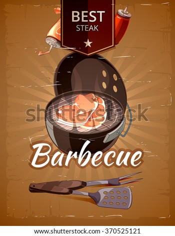 Vintage BBQ vector poster. Grill restaurant barbecue, steak hot food illustration - stock vector
