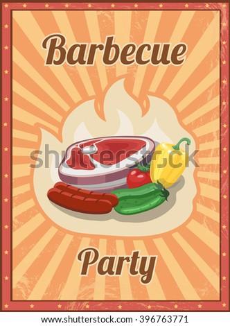 Vintage BBQ vector poster. Grill restaurant barbecue, steak hot food illustration - stock vector
