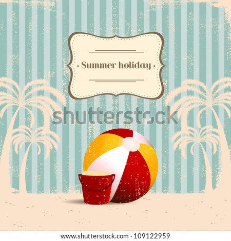 vintage beach background - stock vector