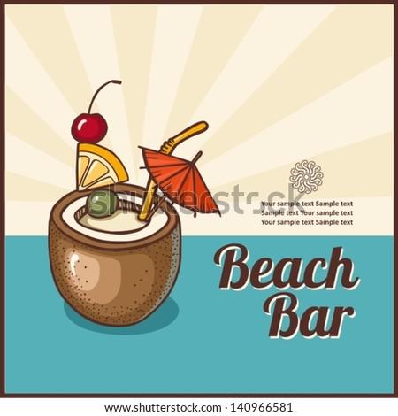 Vintage Beach Bar poster. Vector background. - stock vector