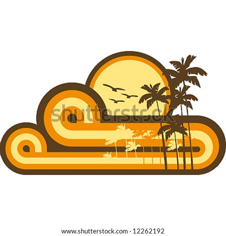 vintage beach composition - stock vector