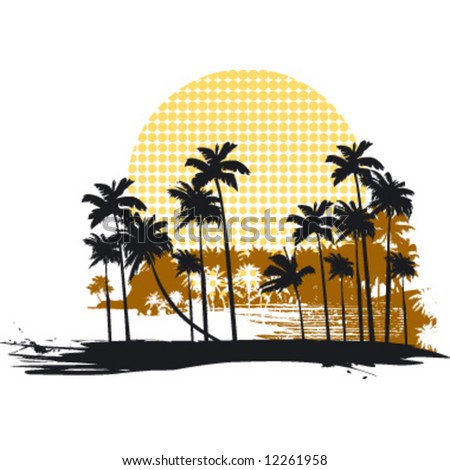 vintage beach landscape - stock vector