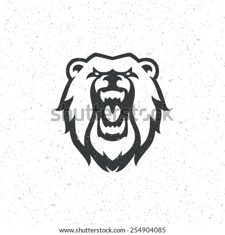 Vintage bear face mascot emblem symbols. Can be used for T-shirts print, labels, badges, stickers, logotypes vector illustration. - stock vector