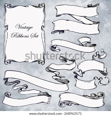 Vintage beautiful hand drawn design elements set. Page decor banners ribbons. Vector illustration. Engraved decorative ornate frames. Victorian style. Place for text message. Ink on aged a card paper. - stock vector