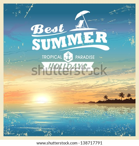 Vintage beautiful sunset seaside background - stock vector