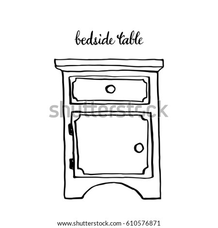 Bedside table clipart  Vintage Bedside Table Vintage Furniture Interior Stock Vector ...