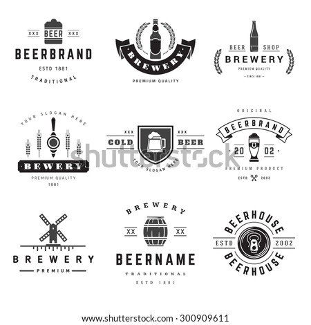 Vintage beer brewery logos, emblems, labels, badges and design elements - stock vector
