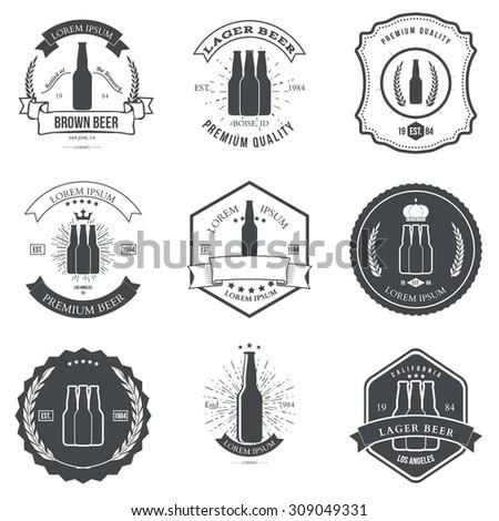 Vintage beer emblems, labels and design elements - stock vector