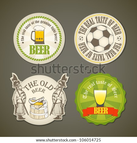 Vintage beer labels collection - stock vector