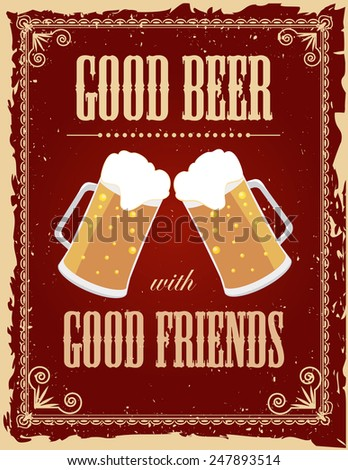 Vintage Beer Poster With Grunge Effects Motivational And Inspirational Quotes PosterRetro Typographic