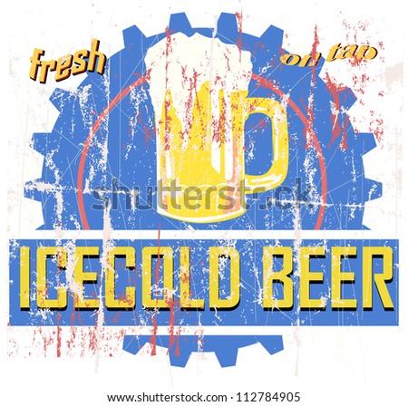 vintage beer sign, advertisement vector illustration - stock vector