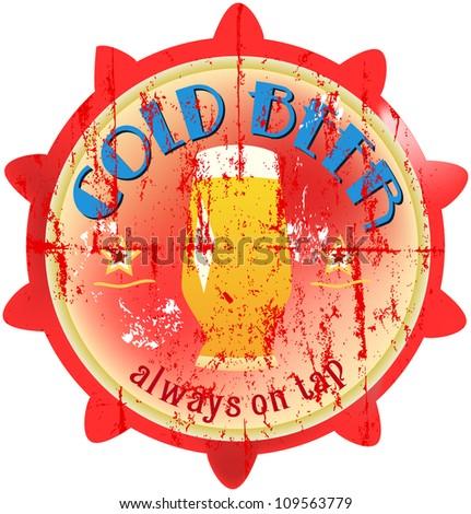 vintage beer sign, fictional, vector illustration - stock vector