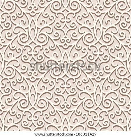 Vintage beige seamless pattern, ornamental vector background in neutral color - stock vector