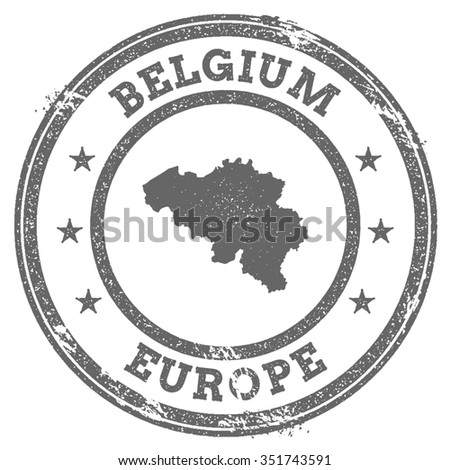 Vintage Belgium stamp with continent name. Grunge rubber stamp map with Europe and Belgium text, vector illustration - stock vector