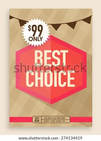 Vintage Best Choice poster, banner or flyer design for sale. - stock vector