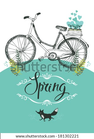 Vintage bicycle and fox. Vignette and calligraphy. Design card - stock vector
