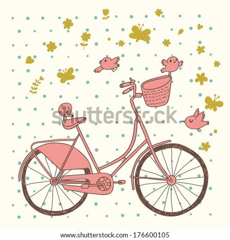 Vintage bicycle in pink colors. Retro cartoon card. Ecology concept background with bike, birds and butterflies