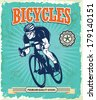 Vintage Bicycle poster design - stock vector