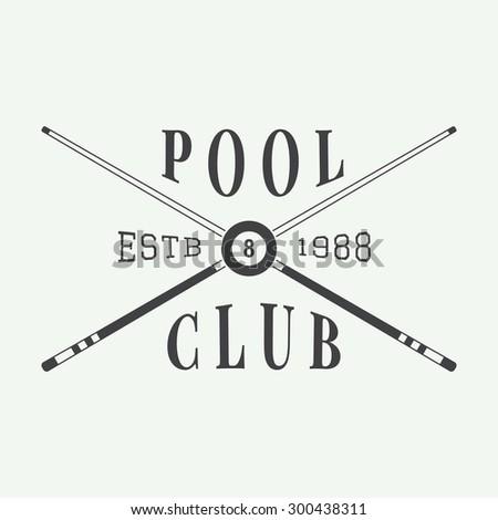Vintage billiard label, emblem and logo - stock vector