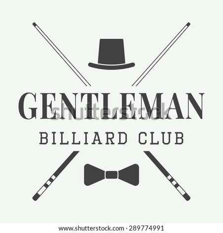 Vintage billiard label, emblem or logo. Vector illustration - stock vector