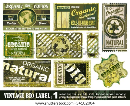 Vintage BIO labels collection with 9 grunge style sticker backgrounds - Set 1 - stock vector