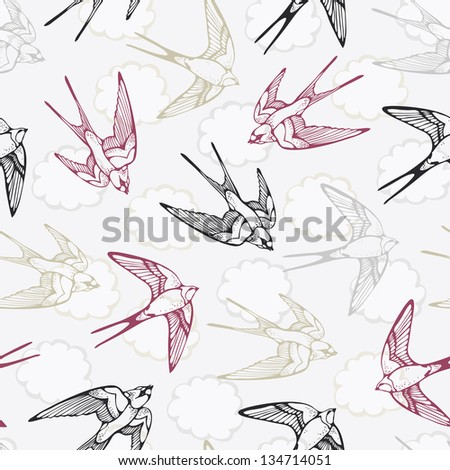 Vintage bird pattern with swallows and clouds - stock vector