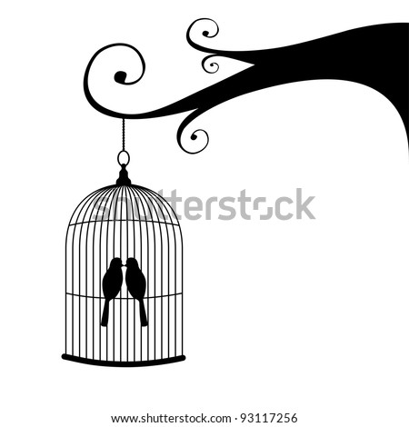 Vintage birdcage and couple of birds, hanging on a tree. - stock vector