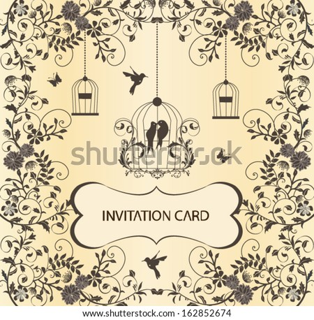 Vintage Birdcage Wedding Invitation Card Stock Vector 2018