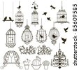 Vintage birds and birdcages collection.  Isolated on white. Clipart. Vector. - stock photo