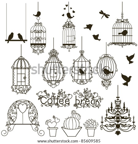Vintage birds and birdcages collection.  Isolated on white. Clipart. Vector. - stock vector