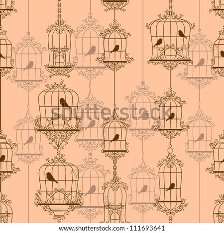 Vintage birds and birdcages. Vector illustration. - stock vector