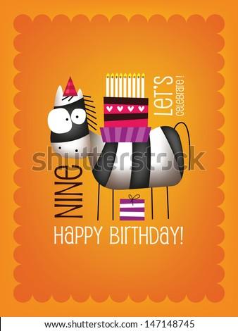 Vintage Birthday Card - Vector EPS10. with Funny Zebra - stock vector