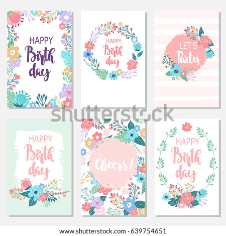 Vintage birthday cards design set with abstract flowers and hand-written text. Collection of beautiful greeting cards in  Doodle style.