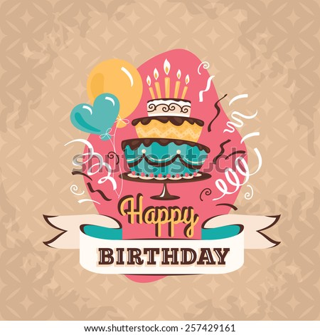 Vintage birthday greeting card with big cake and balloons on a grunge geometric retro background - stock vector