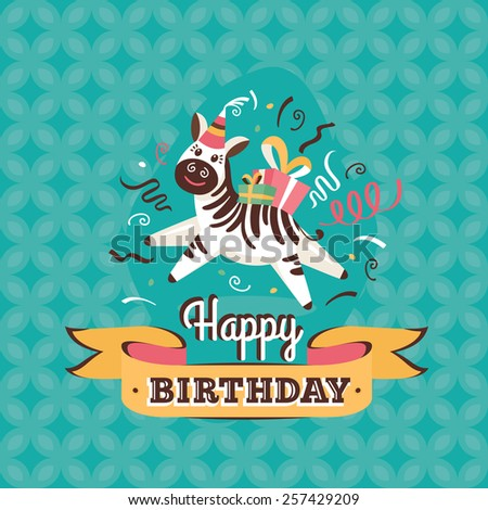 Vintage birthday greeting card with zebra on a geometric retro background - stock vector