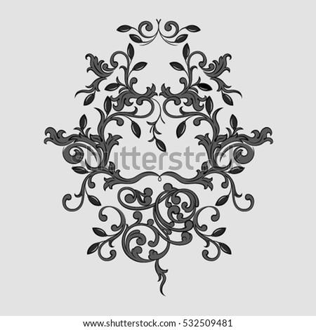 vintage baroque ornament floral motif retro stock vector 527802541 shutterstock. Black Bedroom Furniture Sets. Home Design Ideas