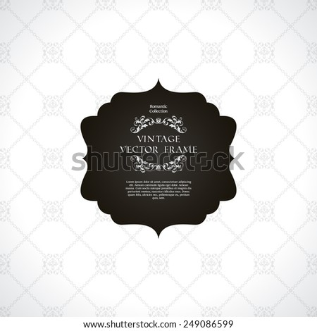 Vintage black and white ornamental background with pattern and decorative frame - stock vector
