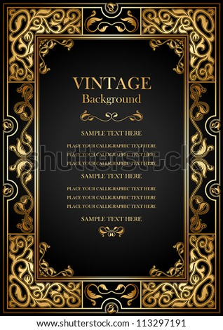 Vintage black background, antique gold frame, victorian ornament, beautiful old paper, certificate, award, royal diploma, ornate cover page, floral luxury rich ornamental - stock vector