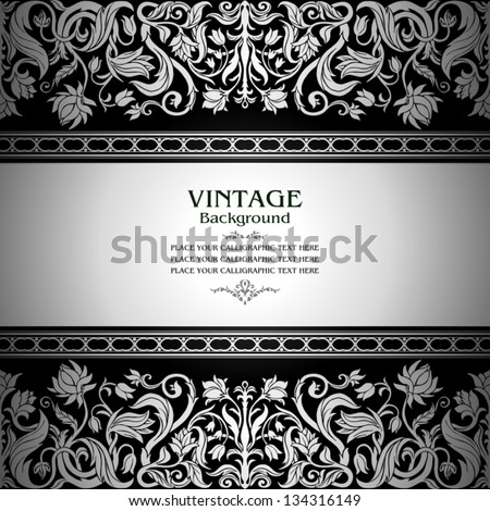 Vintage black background, floral antique card, victorian silver ornament, baroque frame, beautiful, luxury, old decor, royal, ornate cover page, summer and spring style pattern template for design - stock vector