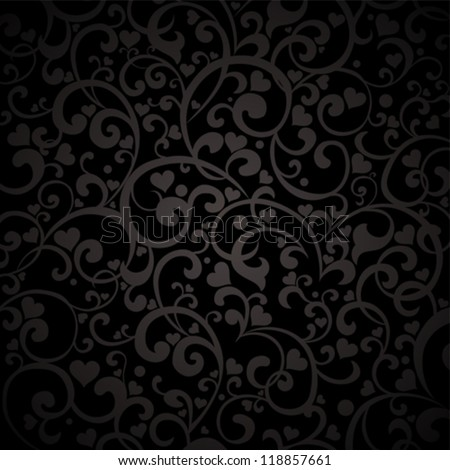Vintage black background with hearts. Vector Illustration - stock vector
