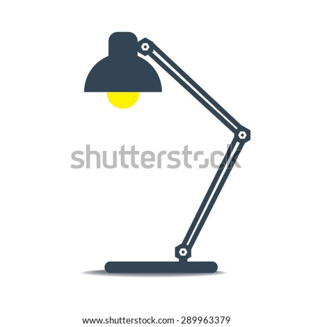 Vintage black desk lamp - stock vector