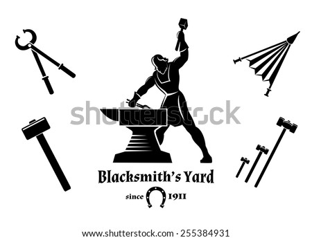 Vintage blacksmith. Hammer and tongs, anvil and craft, logo and tools. Vector illustration - stock vector