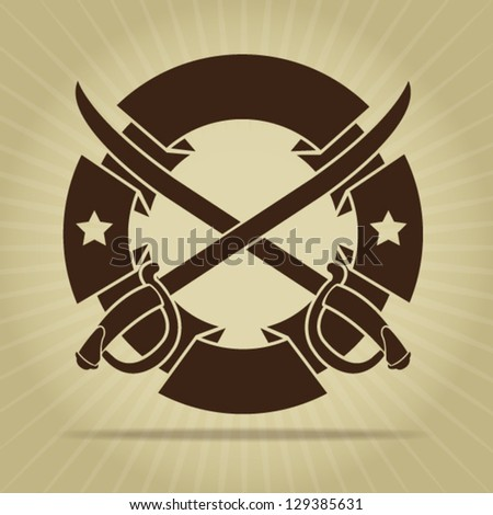 Vintage Blank Seal with Crossed Swords - stock vector