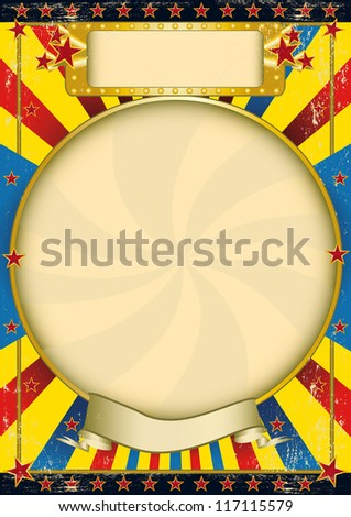 Vintage blue and yellow poster. A poster with a large circle frame for your advertising - stock vector