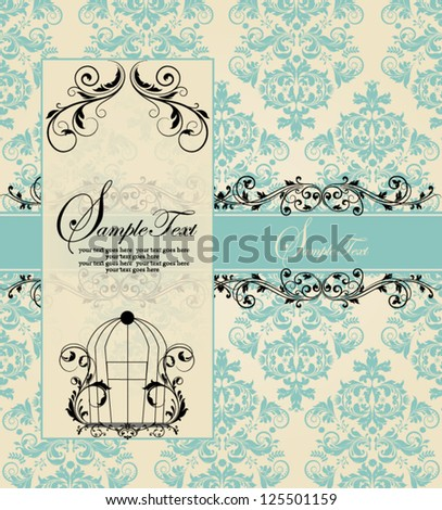 vintage blue damask invitation card - stock vector