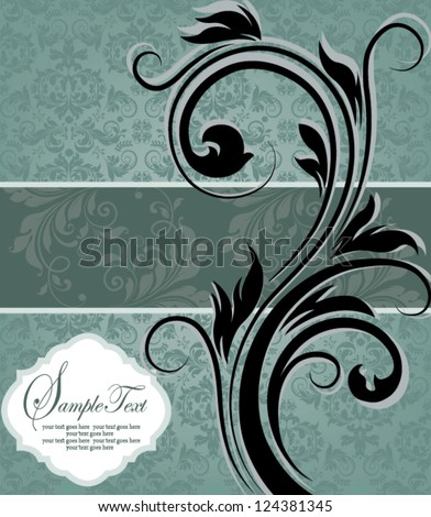 vintage blue damask invitation with floral elements - stock vector