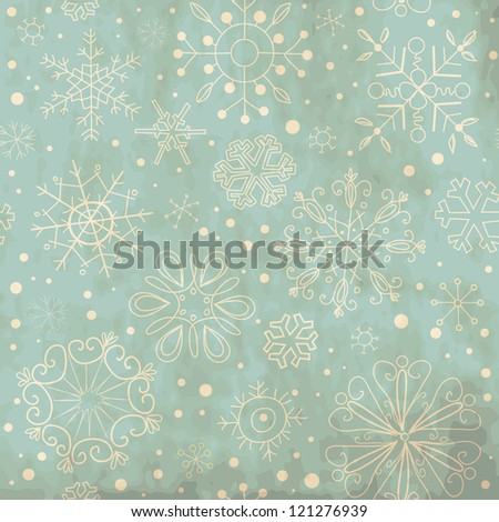 Vintage Blue seamless ornament with snowflakes - stock vector