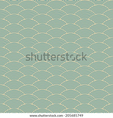 vintage blue seamless waves abstract pattern - stock vector