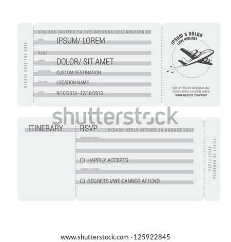 Vintage boarding pass stylized wedding invitation - stock vector