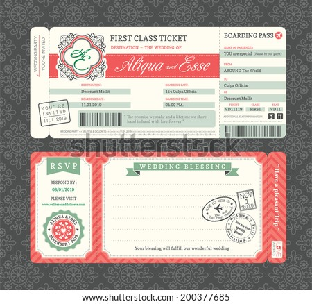 Vintage Boarding Pass Ticket Wedding Invitation Template - stock vector